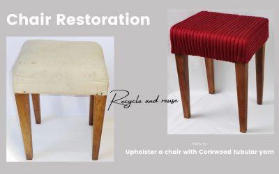 Original furniture restoration using Corkwood tubular yarns